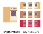kitchen stove set. house... | Shutterstock .eps vector #1377183671