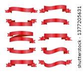 red ribbons set. vector design...   Shutterstock .eps vector #1377205631