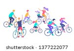 young woman and man ride the... | Shutterstock .eps vector #1377222077