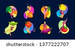 happy people with vegetables... | Shutterstock .eps vector #1377222707
