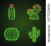 wild cactuses neon light icons... | Shutterstock .eps vector #1377223454