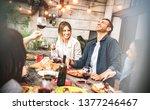 young friends having fun... | Shutterstock . vector #1377246467