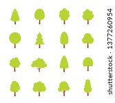 green trees set. flat style.... | Shutterstock .eps vector #1377260954