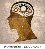 silhouette of a mans head with... | Shutterstock . vector #1377276434