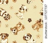 Cute Dog Seamless Texture...