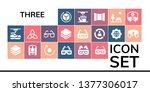 three icon set. 19 filled three ... | Shutterstock .eps vector #1377306017