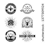set of vintage hunting badges... | Shutterstock .eps vector #1377309524