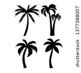 palm trees black silhouettes set | Shutterstock .eps vector #1377388007
