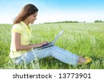 pretty woman with laptop on the ... | Shutterstock . vector #13773901