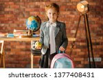 cute schoolgirl with schoolbag  ... | Shutterstock . vector #1377408431