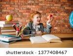 funny schoolgirl with apple... | Shutterstock . vector #1377408467