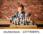 clever schoolgirl  chess player ... | Shutterstock . vector #1377408491