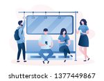 people in the subway male and... | Shutterstock .eps vector #1377449867