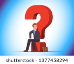 puzzled business man sitting on ... | Shutterstock .eps vector #1377458294