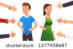 happy smiling cheerful couple... | Shutterstock .eps vector #1377458687