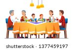 big happy family dining... | Shutterstock .eps vector #1377459197