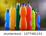 plastic bottles of assorted... | Shutterstock . vector #1377481151