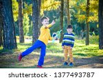 happy two brother kids playing... | Shutterstock . vector #1377493787