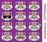 cute cartoon girl raccoon with... | Shutterstock .eps vector #1377530681