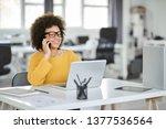 charming mixed race... | Shutterstock . vector #1377536564