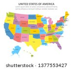 usa multicolored map with... | Shutterstock .eps vector #1377553427