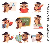 Stock vector owl school teacher birds characters teaching reading writing owls cartoon collection 1377554477