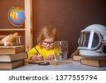 back to school. little pupil... | Shutterstock . vector #1377555794