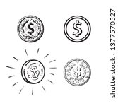 set of coins with dollar sign... | Shutterstock .eps vector #1377570527