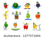 sport fruits characters. funny... | Shutterstock .eps vector #1377571004