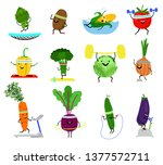 vegetables sports characters.... | Shutterstock .eps vector #1377572711