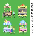 street fast food from carts... | Shutterstock . vector #1377579887