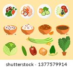 avocado and dishes collection... | Shutterstock . vector #1377579914
