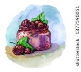 watercolor berry dessert... | Shutterstock . vector #1377590051