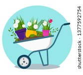 garden cart with flower pots.... | Shutterstock .eps vector #1377592754