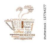 typographic cup of coffee.... | Shutterstock .eps vector #137764277