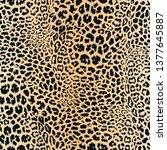 realistic leopard print. animal ... | Shutterstock .eps vector #1377645887