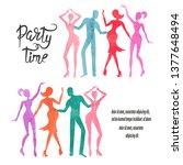group of dancing people.... | Shutterstock .eps vector #1377648494