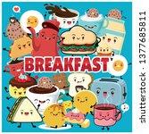 vintage food poster design with ... | Shutterstock .eps vector #1377685811