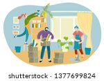 spring house cleaning. family   ... | Shutterstock .eps vector #1377699824