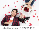 top view of happy young couple... | Shutterstock . vector #1377711131