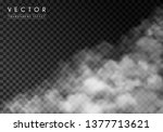 white thick smoke  smog or fog. ... | Shutterstock .eps vector #1377713621
