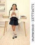 always in touch. kid girl send... | Shutterstock . vector #1377716771