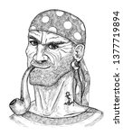 sailor  pirate or boatswain... | Shutterstock . vector #1377719894