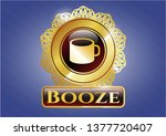 gold badge with coffee cup... | Shutterstock .eps vector #1377720407