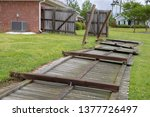 fence damaged and blown down...   Shutterstock . vector #1377726497