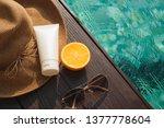 orange juice  straw hat ...   Shutterstock . vector #1377778604