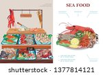 flat seafood market concept... | Shutterstock .eps vector #1377814121