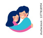 brother and sister embrace with ... | Shutterstock .eps vector #1377818954