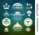 retro summer design elements.... | Shutterstock .eps vector #137782565