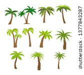 flat vector set of palm trees | Shutterstock .eps vector #1377843287